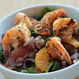 Citrus Spinach Salad with grilled shrimp